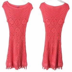 Lilly Pulitzer Fringed Sweater Mini Dress Pink XS